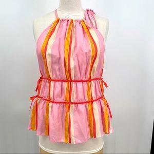 Club Monaco priyah stripe silk tiered top blouse L
